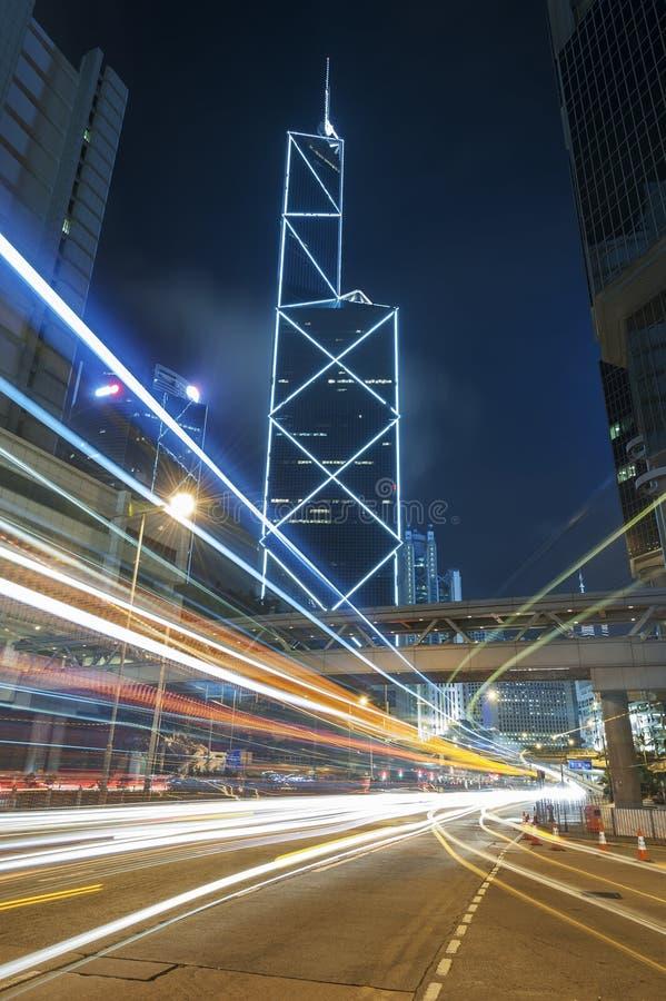 De stad in van de stad van Hongkong stock foto's