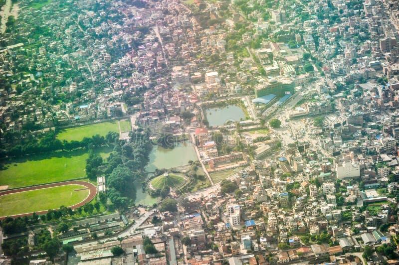 De stad van Katmandu van de lucht stock afbeeldingen