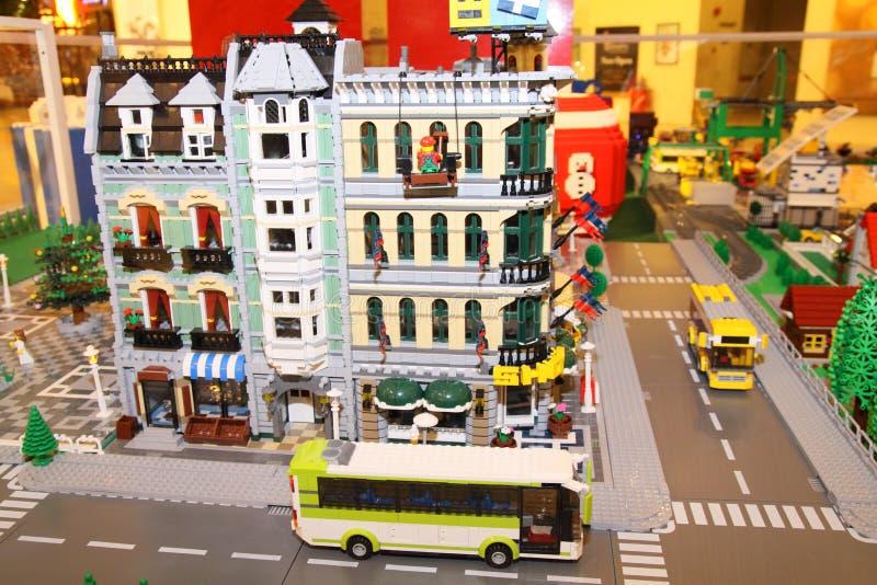 De Stad van Lego op Vertoning royalty-vrije stock foto's