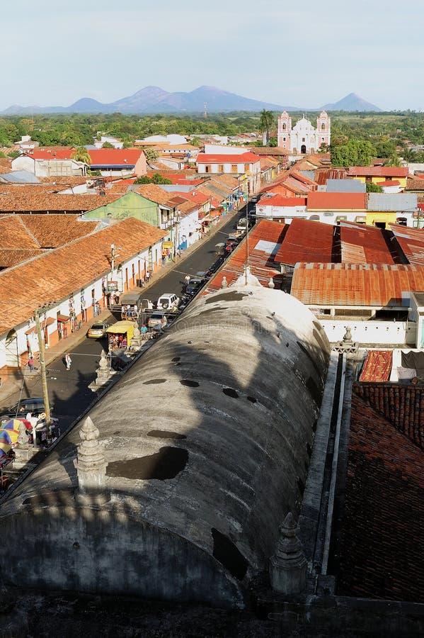 De stad van Leon, Nicaragua stock afbeelding