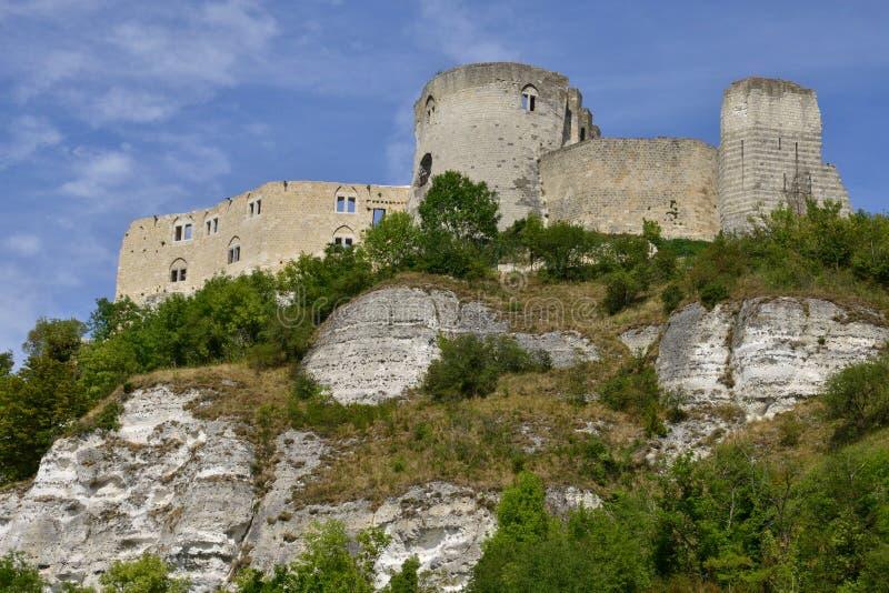 De stad van Les Andelys in normandie stock foto's