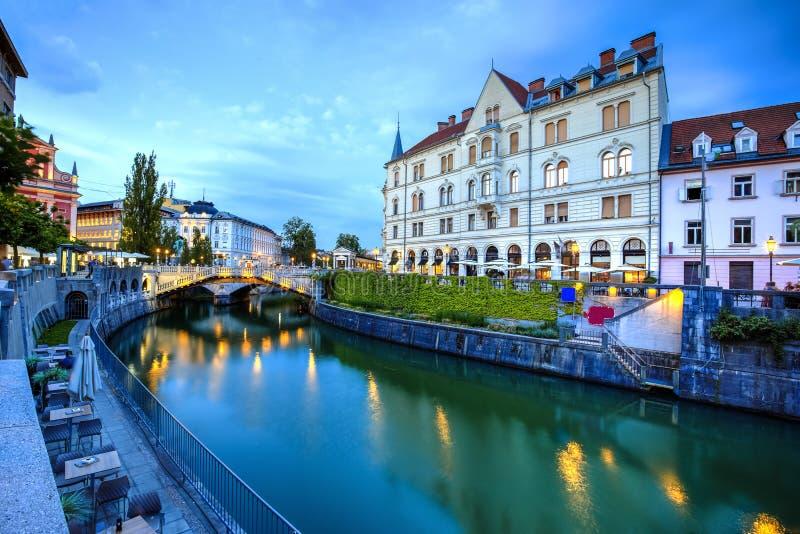 De stad van Ljubljana, Slovenië stock afbeeldingen