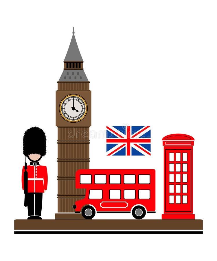 De stad van Londen Vectorillustratie met de symbolen van Londen vector illustratie