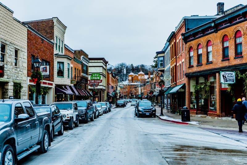 De stad in van Loodglans Illinois, Kerstmistijd 1 1 2019 stock fotografie