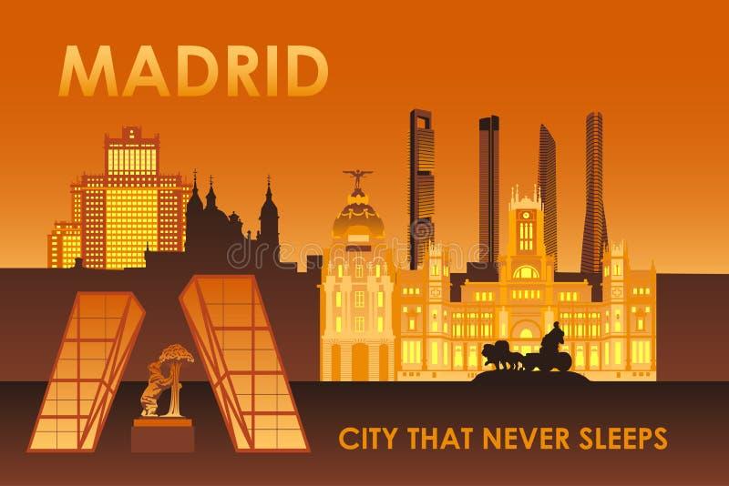 De stad van Madrid die nooit slaap vector illustratie