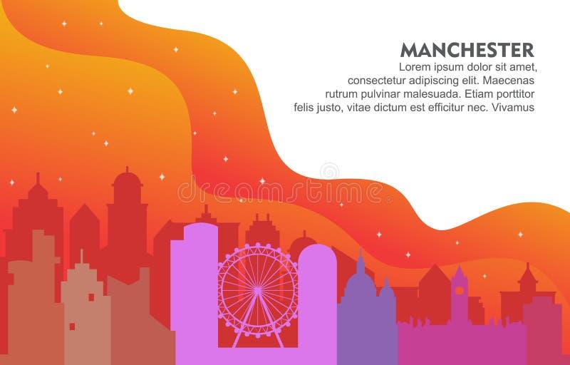 De Stad van Manchester de Bouwcityscape Horizon Dynamische Illustratie Als achtergrond stock illustratie