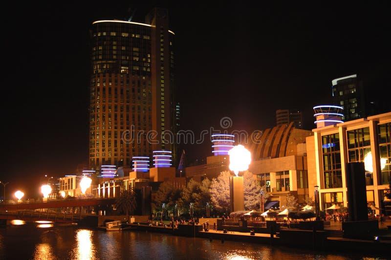 De stad van Melbourne bij nacht (iii) stock fotografie