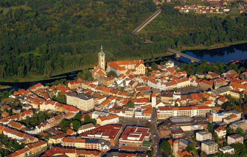 De stad van Melnik - vliegfoto royalty-vrije stock afbeeldingen