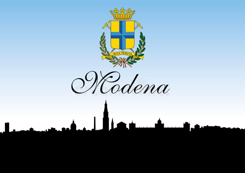 De stad van Modena, Italië, horizonsilhouet en wapenschild stock illustratie