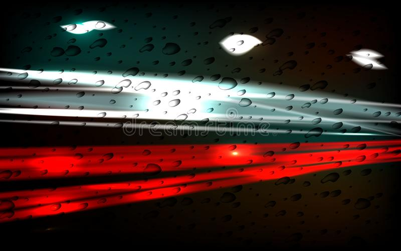 De stad van de nacht Het spoor van licht Regendruppels op het glas vector illustratie