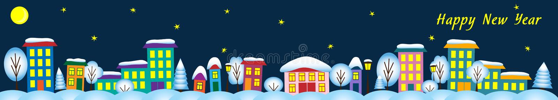 De stad van de nachtwinter met huizen en bomen stock illustratie