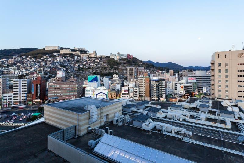 De stad van Nagasaki is het kapitaal en de grootste stad van de Prefectuur van Nagasaki op het Eiland Kyushu in Japan stock afbeelding