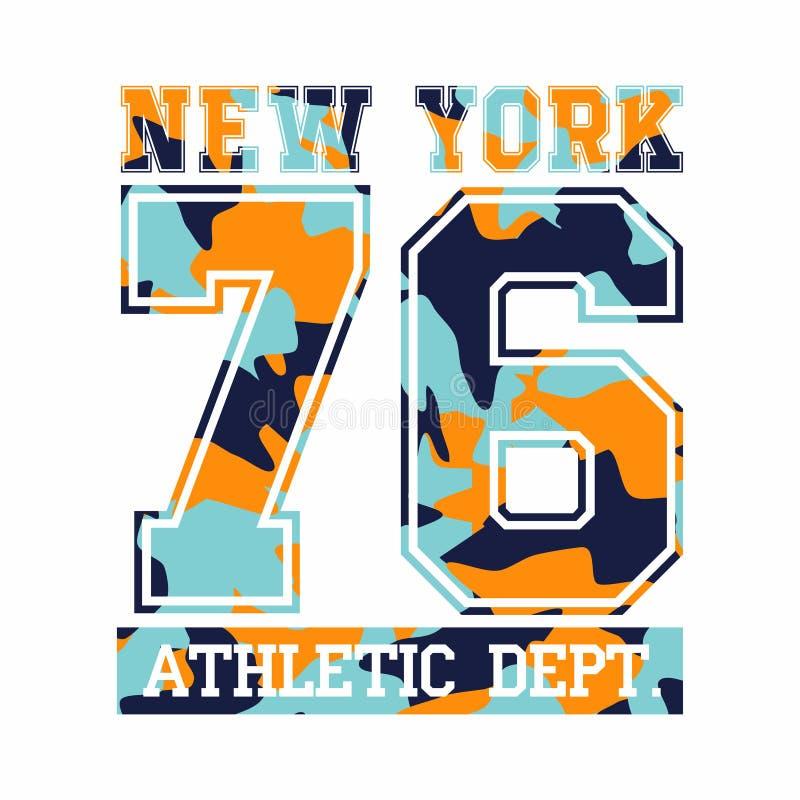 De Stad van New York, atletische afdeling Het ontwerp van de camouflaget-shirt, typografie voor t-shirtgrafiek vector illustratie