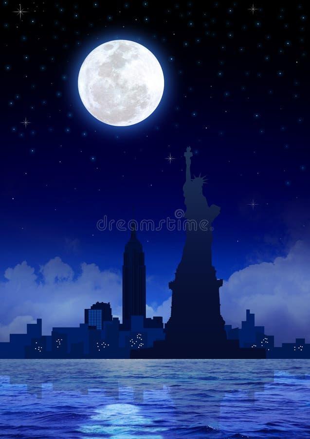 De Stad van New York bij Nacht stock illustratie