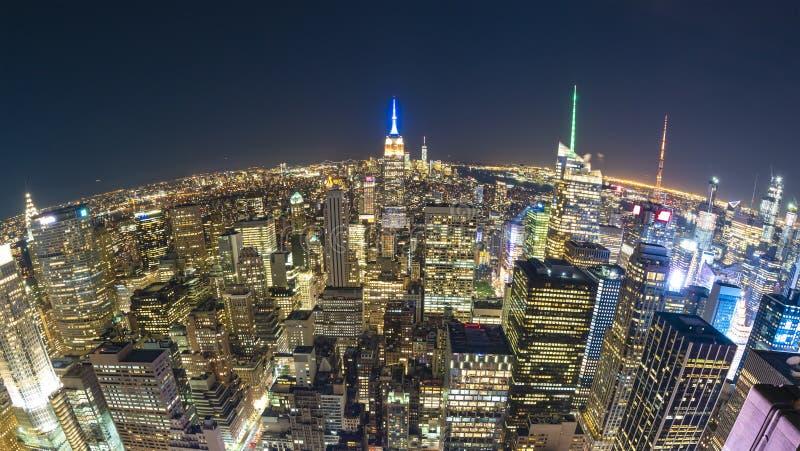 De Stad van New York bij nacht, fisheye mening royalty-vrije stock afbeeldingen