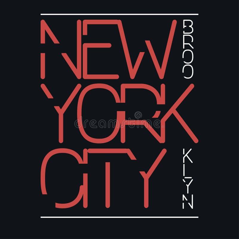 De stad van New York, de typografiegrafiek van Brooklyn Druk, zegel voor sportkleding royalty-vrije illustratie