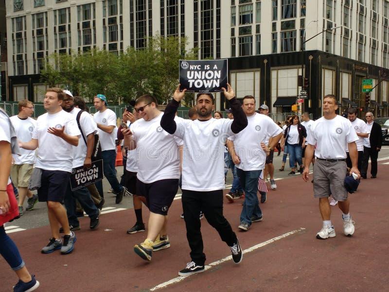 De Stad van New York is een Unie Stad, Dag van de Arbeidparade, NYC, NY, de V.S. royalty-vrije stock fotografie