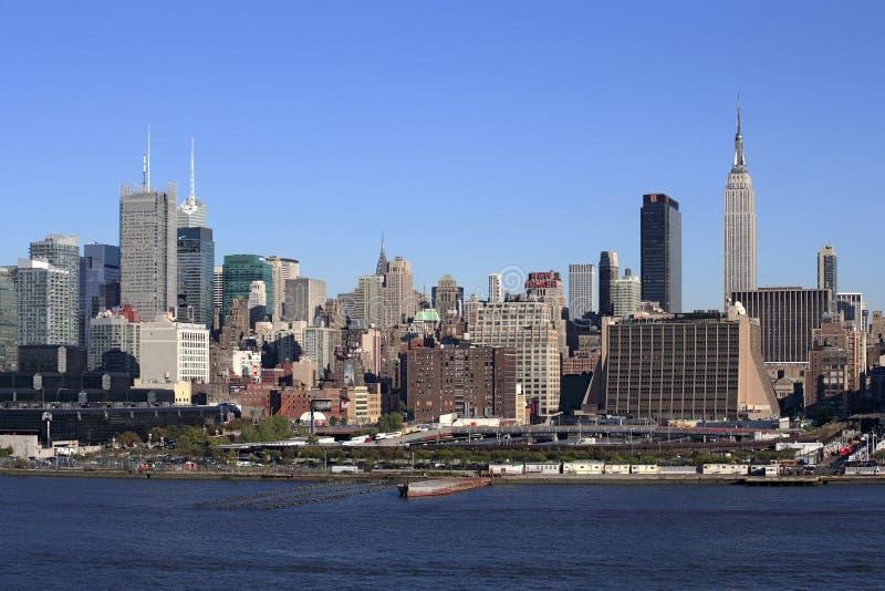De Stad van New York en Hudson River stock fotografie