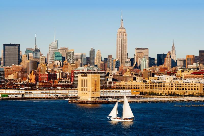 De Stad van New York en Hudson River stock afbeelding