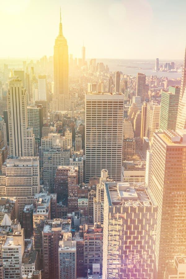 De Stad van New York Horizon de van de binnenstad van Manhattan, uitstekende stijl stock afbeeldingen