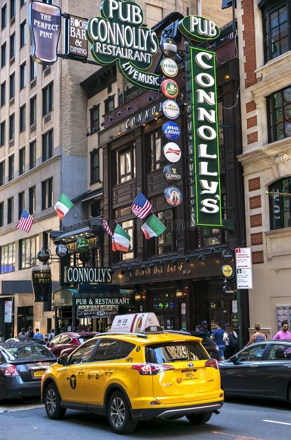 De Stad van New York, Iers restaurant stock afbeeldingen