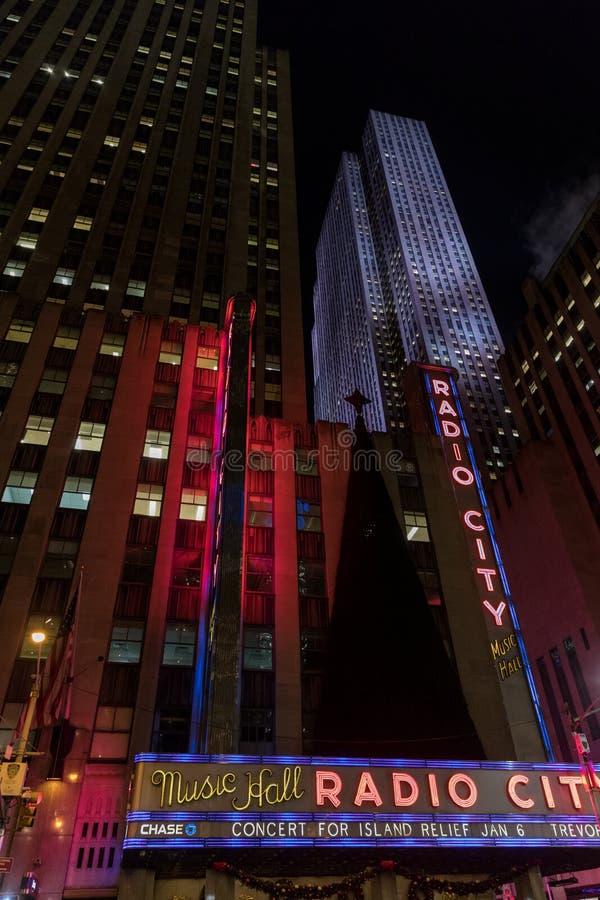 De STAD van NEW YORK - Januar 3, 2018: De radiozaal van de Stadsmuziek in Rockefe royalty-vrije stock foto