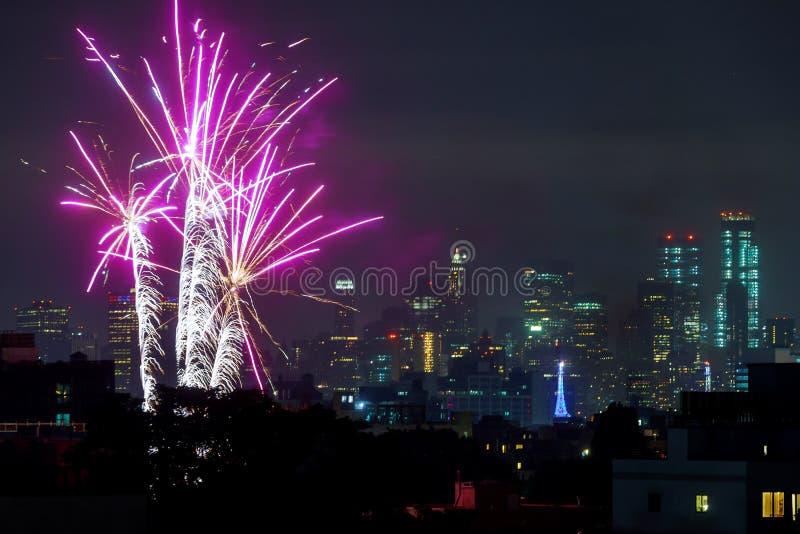 DE STAD VAN NEW YORK - 4 JULI: Van de Stadsmanhattan van New York het vuurwerk van de de Onafhankelijkheidsdag toont in Hudson Ri royalty-vrije stock foto