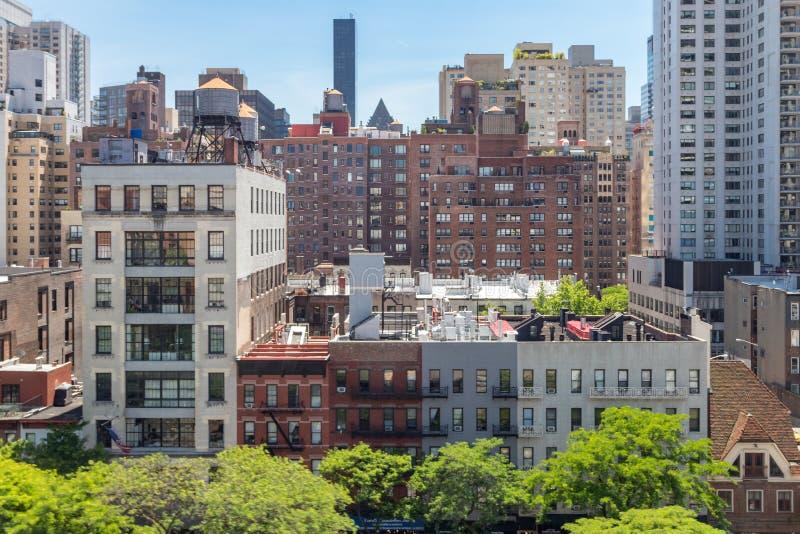 De Stad van New York - Luchtmening van historische gebouwen langs 59ste Straat royalty-vrije stock foto