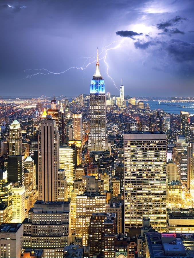 De Stad van New York met bliksembout, de V.S. royalty-vrije stock fotografie