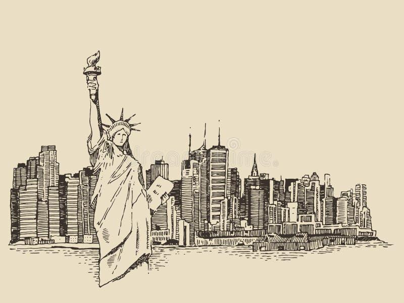 De stad van New York met Standbeeld van Vrijheids vectorschets vector illustratie