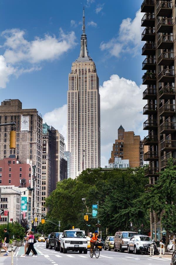 De Stad van New York, NY/USA - circa Juli 2015: Empire State Building in Manhattan royalty-vrije stock fotografie