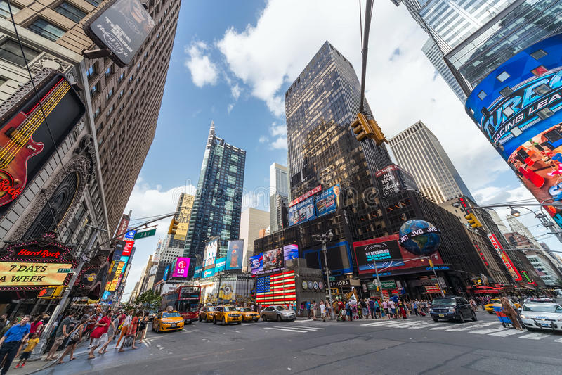 De Stad van New York, NY/USA - circa Juli 2013: Time Square in de Stad van New York stock foto
