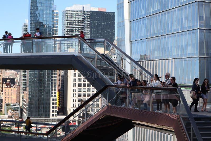 De Stad van New York, NY, de V.S. - 22 MEI, 2019: Het Schip, Hudson Yards Staircase ontwierp door architect Thomas Heatherwick Ui royalty-vrije stock afbeeldingen