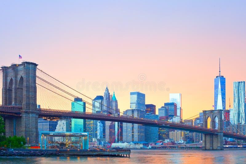 De Stad van New York, panorama het van de binnenstad van Manhattan royalty-vrije stock fotografie