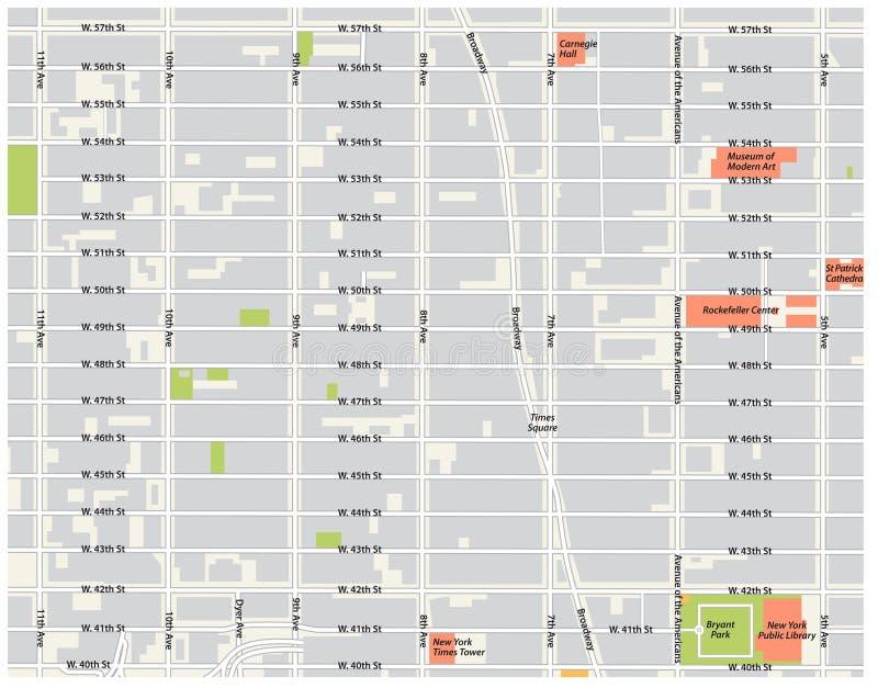 De stad van New York, theaterdistrict, de uit het stadscentrum vectorkaart van Manhattan stock illustratie