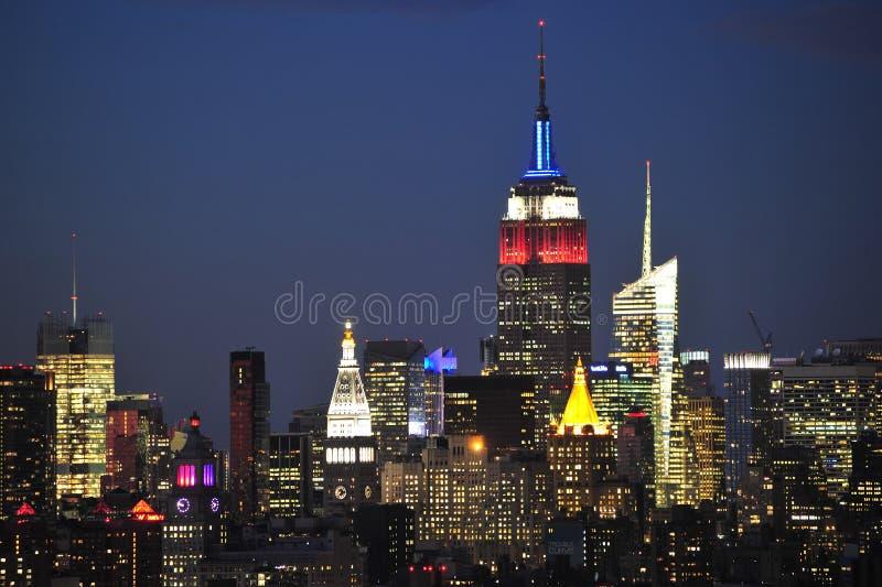 De Stad van New York Uit het stadscentrum bij Nacht royalty-vrije stock fotografie