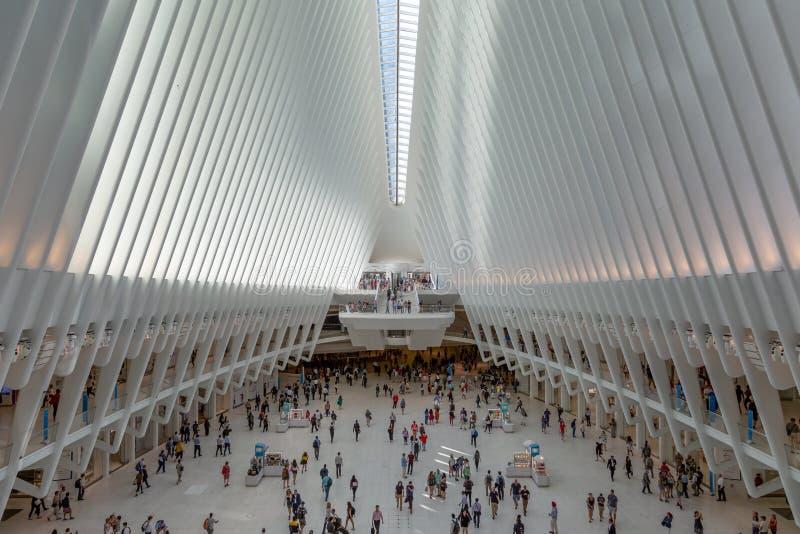 De Stad van New York/de V.S. - 18 juli 2018: World Trade Center Transporta stock fotografie