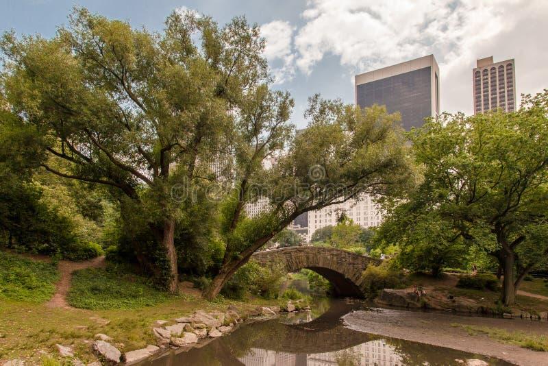 De Stad van New York van het Central Park van de Brug van Gapstow stock foto