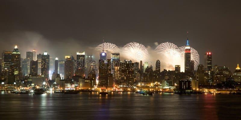 De Stad van New York - vierde van het Vuurwerk van Juli stock afbeeldingen