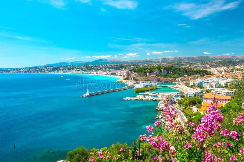 De stad van Nice, Franse riviera, Middellandse Zee stock fotografie