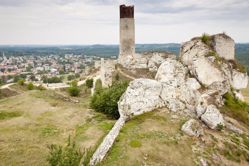 De stad van Olsztyn en oud kasteel - Polen. stock afbeelding