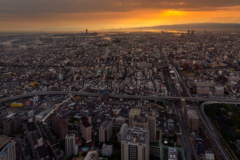 De stad van Osaka van Abeno Harukas stock foto's