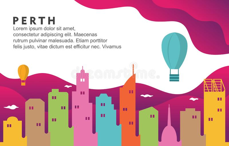 De Stad van Perth Australië de Bouwcityscape Horizon Dynamische Illustratie Als achtergrond vector illustratie