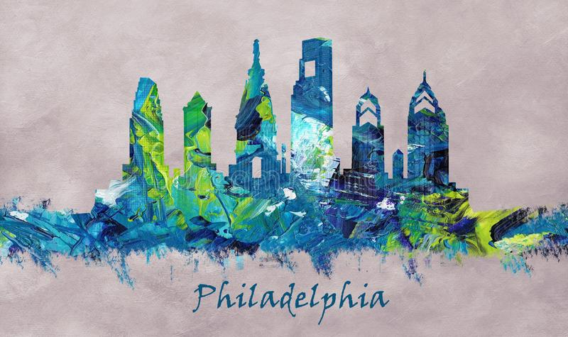 De Stad van Philadelphia in Pennsylvania, horizon royalty-vrije illustratie