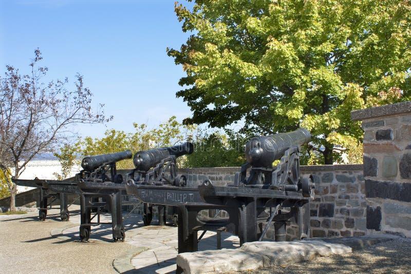 De Stad van Quebec, Quebec, Canada, mortierkanon Van de binnenstad, het Uitstekende stock fotografie
