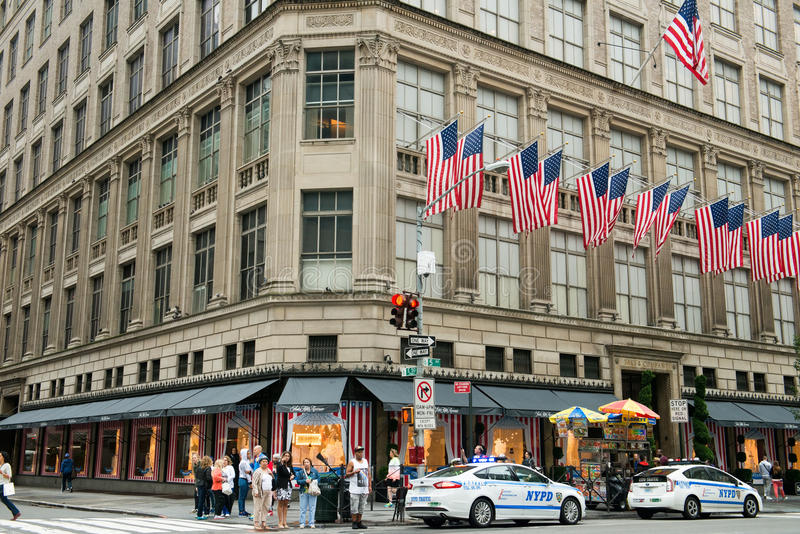 De Stad van Saks Fifth Avenue New York stock foto's