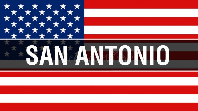 De stad van San Antonio op een de vlagachtergrond van de V.S., het 3D teruggeven De vlag die van de Verenigde Staten van Amerika  royalty-vrije illustratie