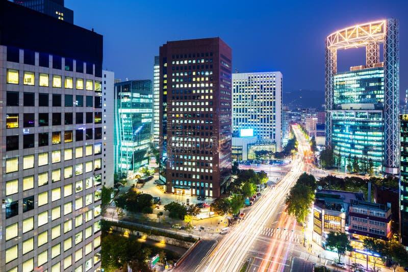 De stad van Seoel bij nacht royalty-vrije stock foto