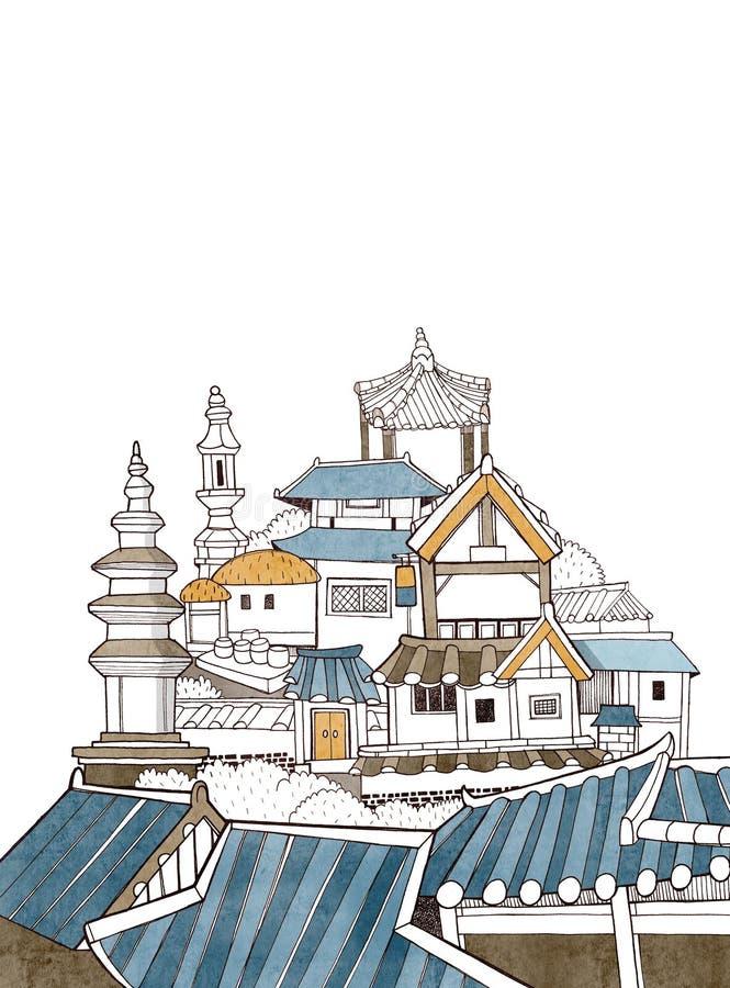 De stad van Seoel en Koreaanse architectuur royalty-vrije illustratie
