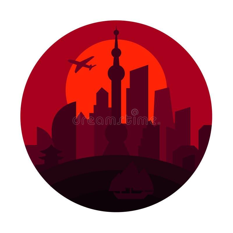 De stad van Shanghai het rood van de de bouwzonsondergang van schaduwchina vector illustratie